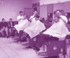 Barber Shop Manchester Nh : Male students and faculty at the HUB barber shop