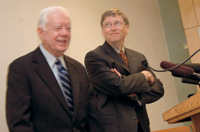 President Jimmy carter and Microsoft Chairman Bill Gates.