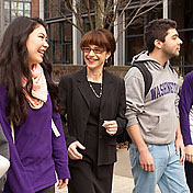 Chancellor Friedman with students