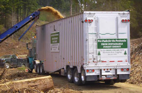 This customized chip van is designed to access woody biomass along forest logging roads.