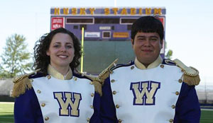 Drum majors Alysa Treber, left, and Angel Saucedo