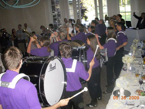 An HMB pep band enlivens a recent wedding reception.