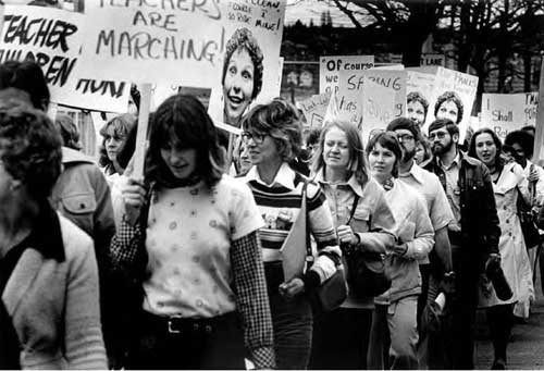 Laid-off teachers demonstrate, April, 1976