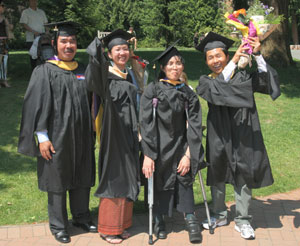 SSW MSW '08 grads, from left: Bora Chun, Kanika Ung, Nika Nguon and Lo Leang