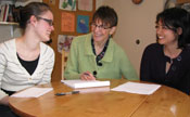 From left: MSW student Danielle Krogh, Associate Professor Jean Kruzich, MSW student Hannah Locke