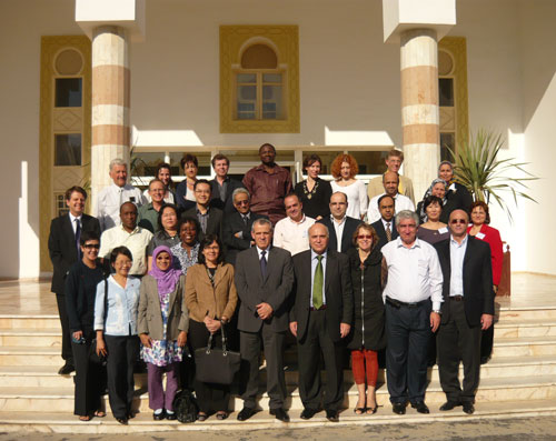 Terry Reid, MSW �74, with colleagues from WHO workgroup in Tunis, Tunisia