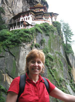 Pauline at Tiger's Nest in Bhutan