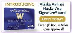Introducing the Alaska Airlines Husky Visa® Signature card—Earn 25k Bonus Miles upon approval!