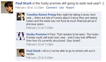 Screen shot of Husky Promise Facebook page