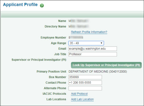 Applicant Profile section