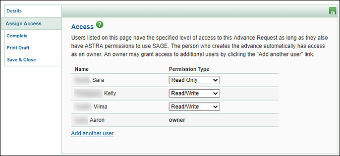 advance assign access page