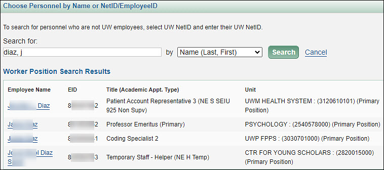 example personnel chooser results list