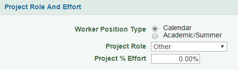 project role and effort section