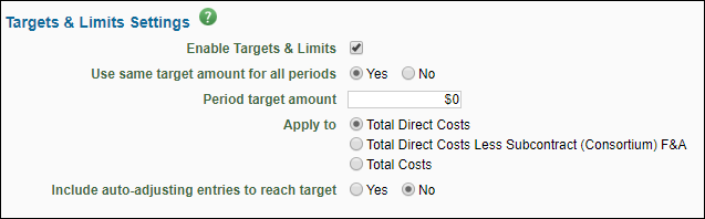 targets and limits tab fields