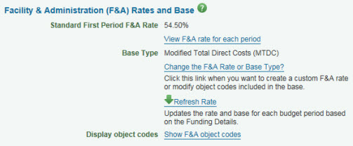 F&A tab rates and base