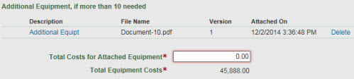 section c equipment total costs for attachment