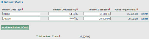 section h indirect costs with added row