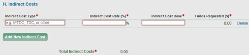 section h indirect costs