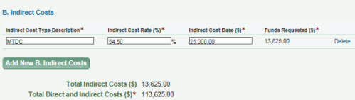 Indirect costs entry