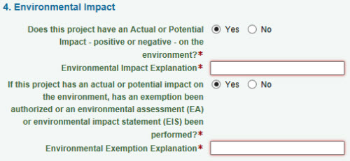 Environmental Impact section