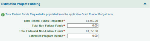 Estimated Project Funding section