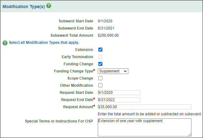 modification types section for extension and funding change