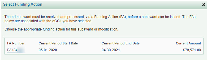 select funding action dialog