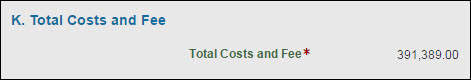section k total costs and fee