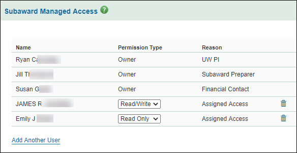 subawards manage access section