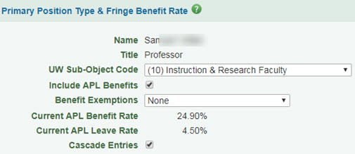 primary position type and fringe benefit rate section