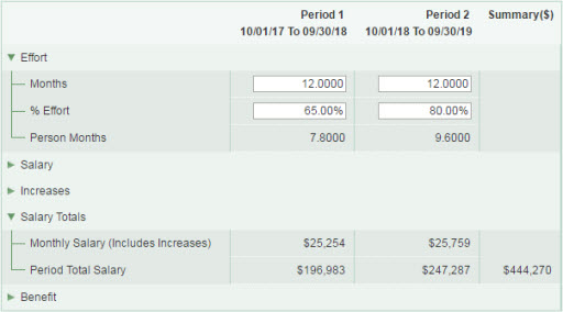 update periods showing effort and salary totals sections