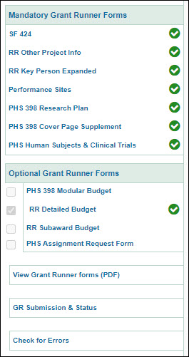 left navigation menu for a grant runner application