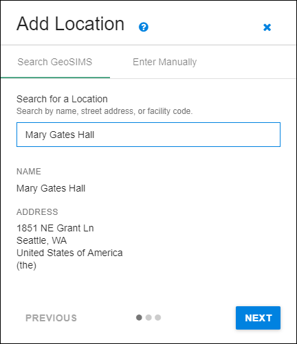 add location name and address