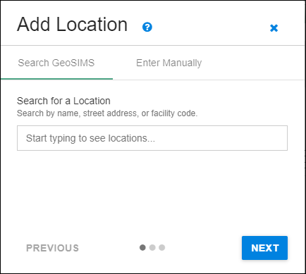 add an activity location dialog