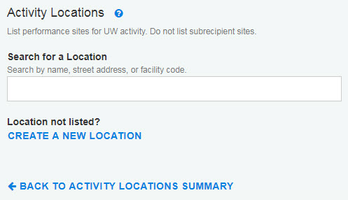Activity Locations section