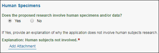 human specimens question answered yes and showing required explanation attachment