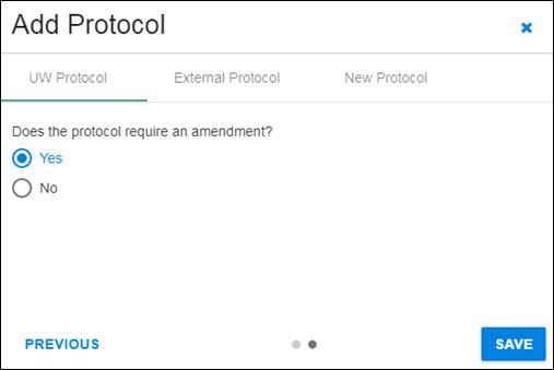 add protocol amendment question