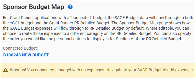 sponsor budget map page alert for no expenses