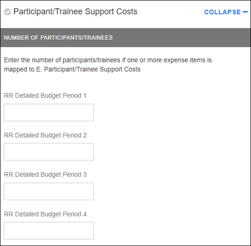 sponsor budget map participant trainee support costs section