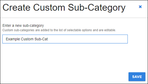 create custom sub-category dialog with example text