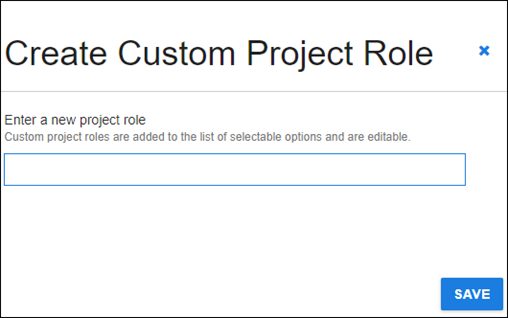 create custom project role dialog