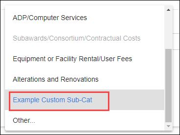 sponsor budget map sub-category drop-down with custom entry