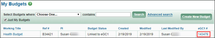 my budgets page showing connected e g c 1 link