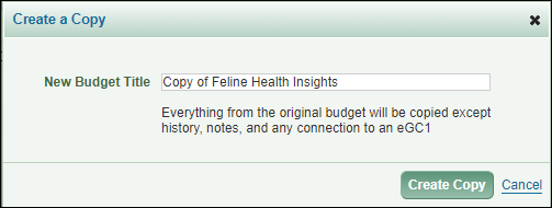 budget copy dialog