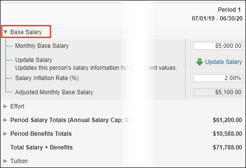 base salary section of update periods