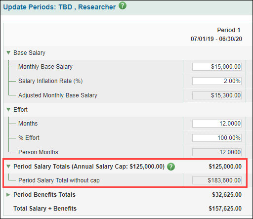 update periods salary totals showing capped and uncapped salary