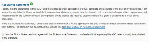 approval dialog assurance statement