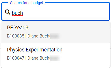 budget list search example