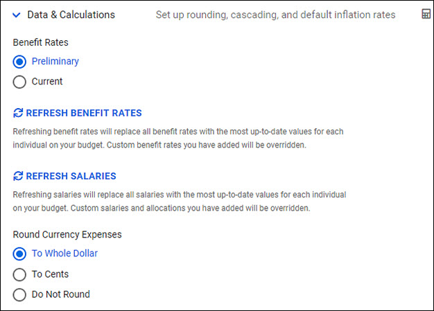 budget settings date and calculations section part 1