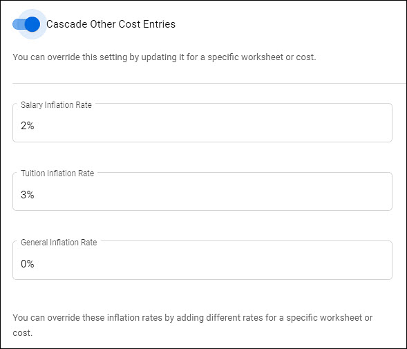 budget settings date and calculations section part 2